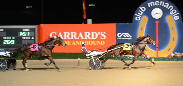 Mike Ko'cass with all the winners for Menangle Saturday night